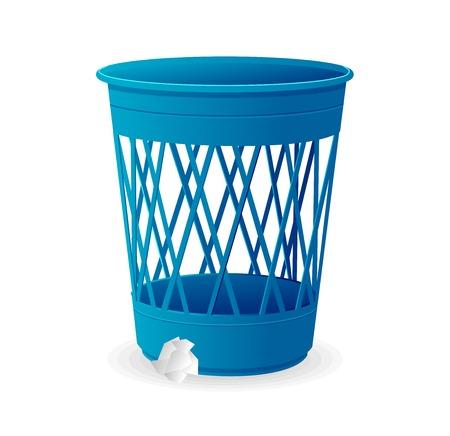 cesto basura: Plástico azul del vector de la cesta, los contenedores de basura en blanco Vectores