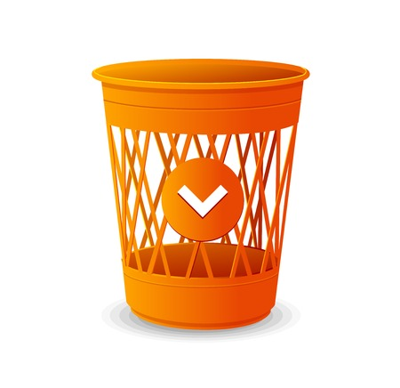 trash can: Vector plastic basket orange, trash bins on white Illustration