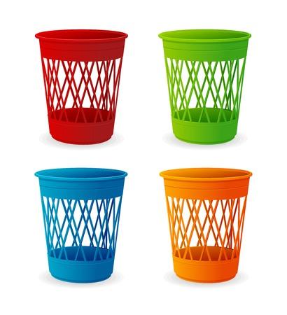 trash basket: Vector plastic basket set, trash bins on white