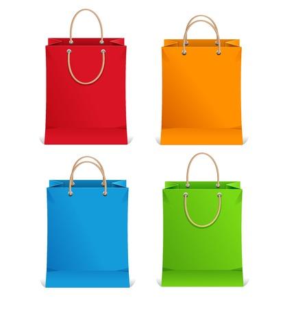 Boodschappentassen oranje, blauw, groen en rood Stock Illustratie