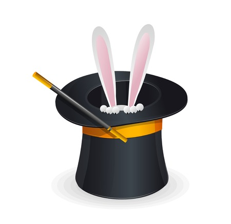 conjuring: Magic hat vector and rabbit Illustration