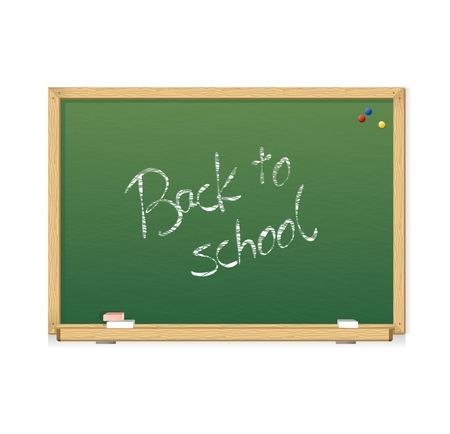 Vector green chalkboard Back to school