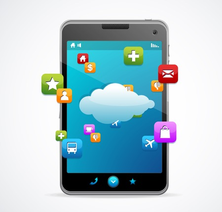 accessing: Tel�fono inteligente con pantalla azul de conexi�n Cloud-computing