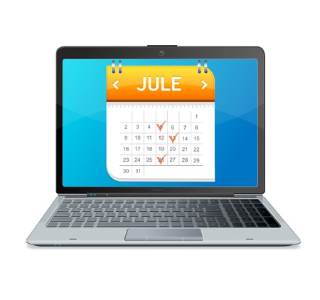 Calendar icon on the screen of laptop monitor Vector