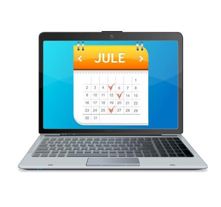 Calendar icon on the screen of laptop monitor Vector