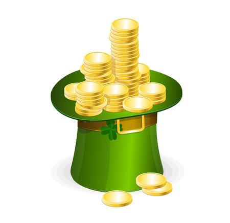 leprechaun background: Patrick day illustration with gold coins and leprechaun hat