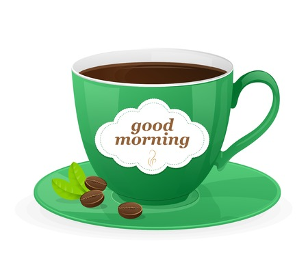 good break: Vector green cup of coffee and text Illustration