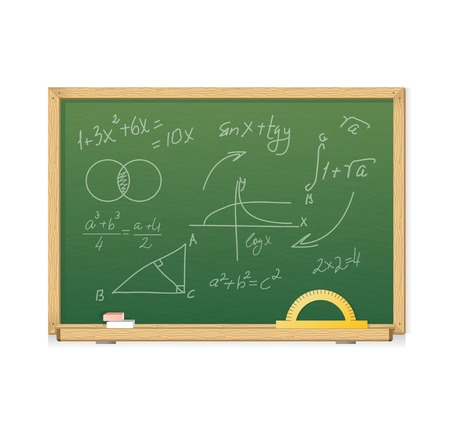 Vector green chalkboard with mathematics symbols for background