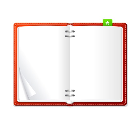 Vector open personal organizer book red
