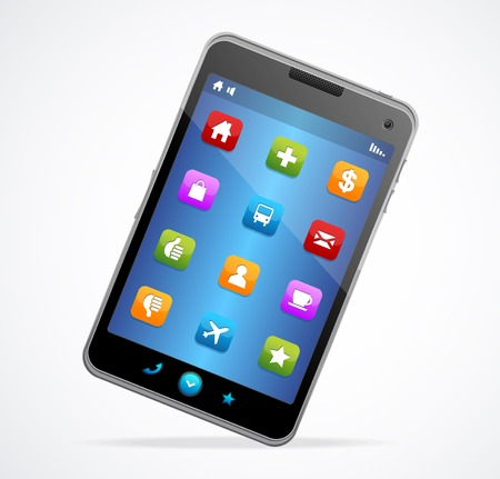 Smart Phone With blue screen and icons Vector