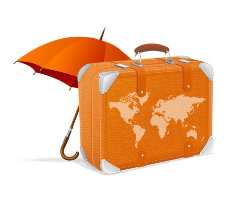ap: illustration of traveling element baggage and umbrella