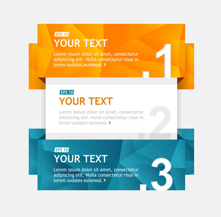 rectangle button: Vector colorful text boxes, infographics options banner 1 2 3 Illustration