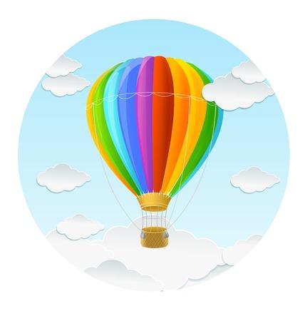 Vector rainbow air ballon and clouds icon Reklamní fotografie - 30110859