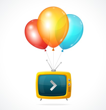 speech ballons: Vector fly Tv and ballons on white