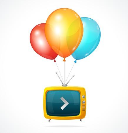 speech ballons: Vector fly Tv and ballons on white