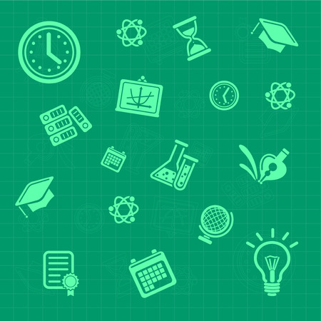 Education background green  Seamless pattern Vector illustration