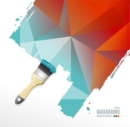 roller brush: Vector el cepillo del rodillo y el fondo del tri�ngulo para el texto