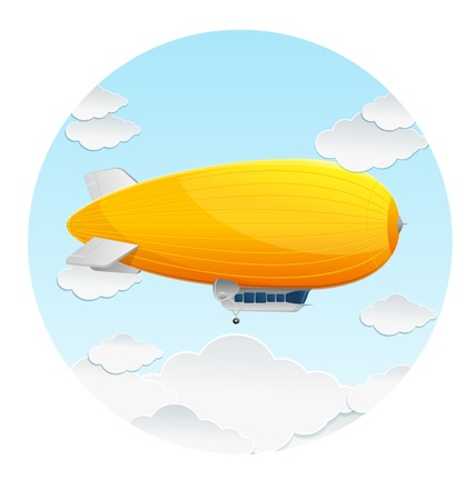 dirigible: Vector yellow dirigible balloon and clouds icon