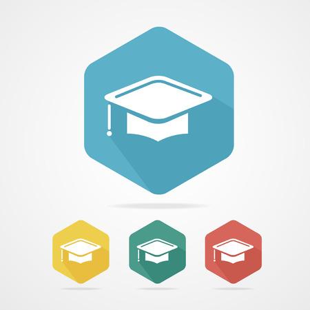 Coupe Education icône chapeau plat de chapeau d'obtention étudiant sur blanc