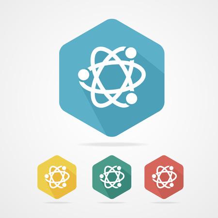 nucleus: Vector flat atom icon set on white Illustration