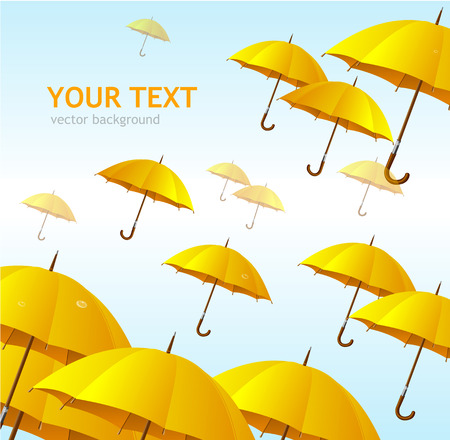 Vector colorful yellow umbrellas flying high background Vector