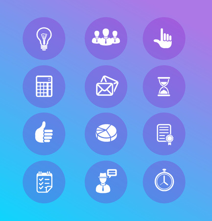 developing: Vector Business icons set  White Icons on blue