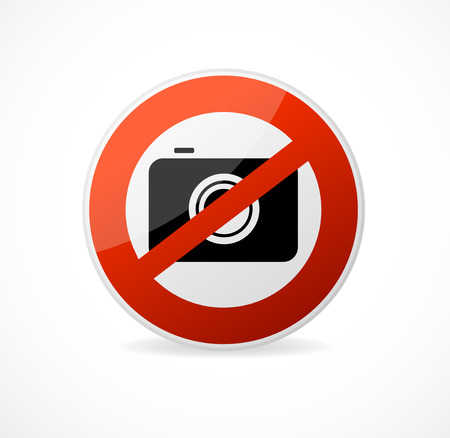 forbidden pictogram: No photo camera vector sign isolated on white background