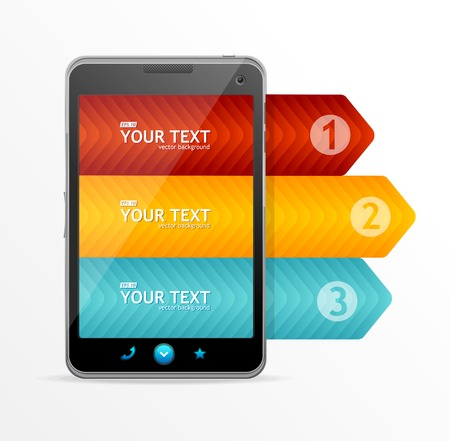 econimics: Vector smartphone with infographic option banner concept