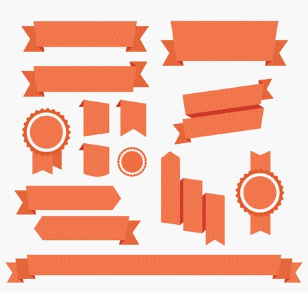 ribbon: Vector Red ribbons set  Elements isolated on white Illustration