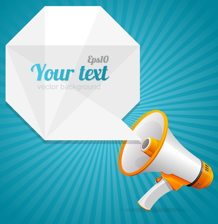 Vector modern Abstract paper speech bubble and megaphone