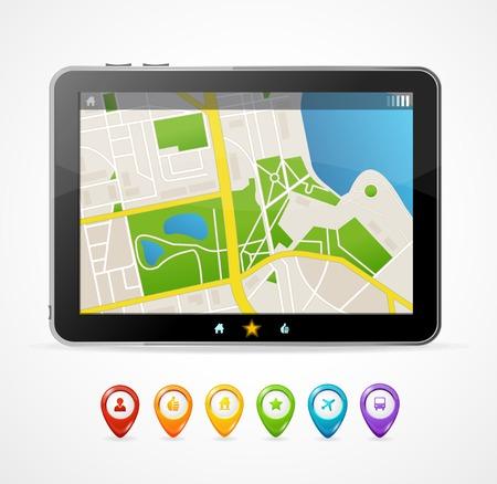 Vector tablet map navigation set  For infographics