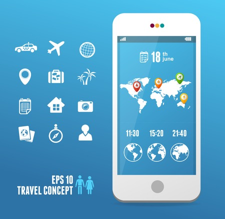 Vector smartphone with mobile map  Travel set on blue Vector