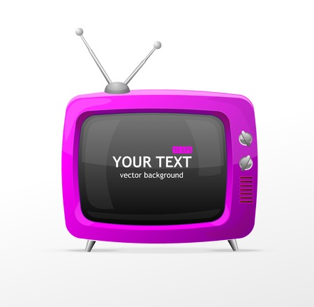 tv screen: Vector pink TV blank on white background