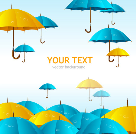 rainfall: Vector colorful yellow umbrellas flying high background