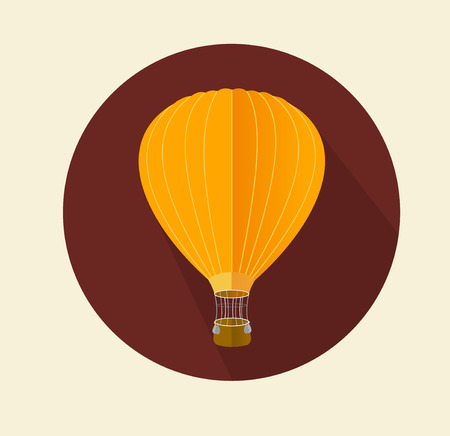 inflate: Vector air ballon icon flat. On dark backgrond
