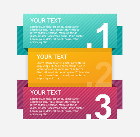 Vector colorful text boxes, infographics options banner 1 2 3 concept Vector