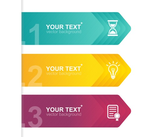 arrow sign: Vector colorful text boxes, infographics options banner 1 2 3 concept
