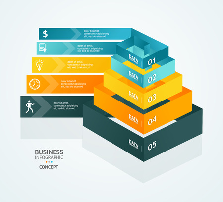 stage chart: Pyramid chart for infographics design or web template