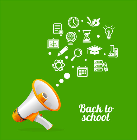 using voice: Vector Megaphone and flat icon. Back to school concept.