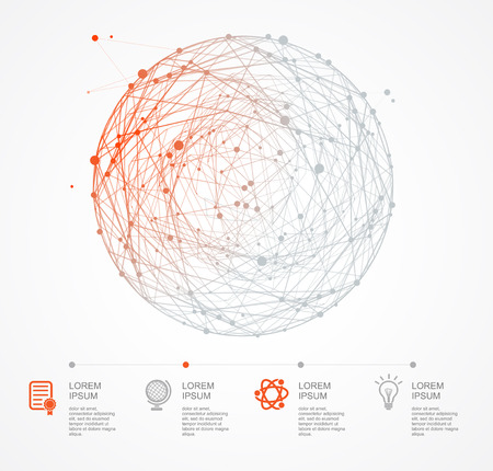red sphere: Abstract con sfera rossa e linee Infografica. Set di opzioni Icona Vettoriali