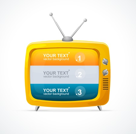 tv news: Vector orange TV blank and option banner 123. Illustration