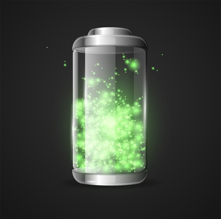 Vector detailed glossy battery full level with lighting green Vector