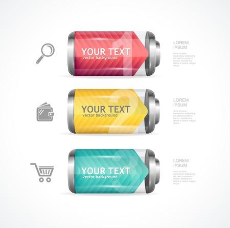full frames: Vector detailed glossy battery full level with infographics