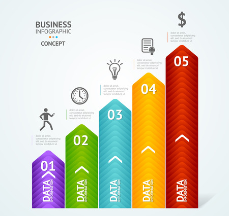 graphic chart: Step by step to success infographics illustration. Modern business arrow options banner.