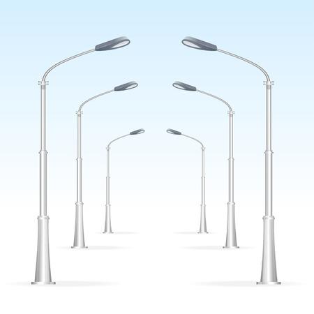 streetlight: Street lanterns on a white background, electricity oblect. Road. Illustration