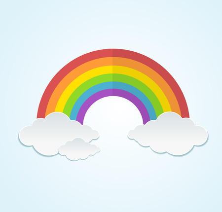 Rainbow and clouds in flat style Vector illustration
