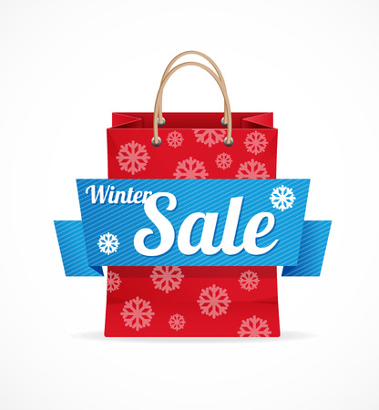 shopping bag icon: Vector Christmas sale red paper bag on white.