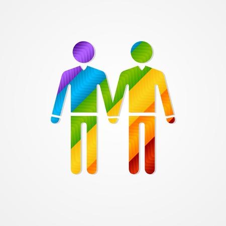hombres gays: Par hombres Sholuette. LGBT signo vector silueta. Vectores