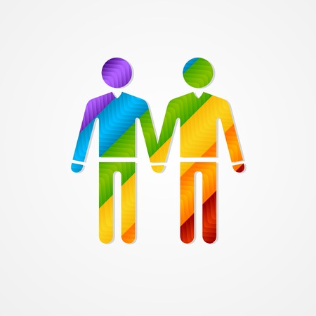 rainbow print: Sholuette couple men. LGBT vector silhouette sign.