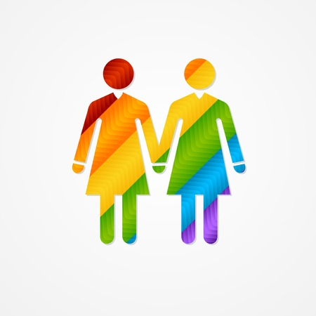 Sholuette couple women. LGBT vector silhouette sign.